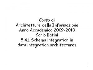 Corso di Architetture della Informazione Anno Accademico 2009