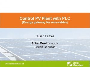 Control PV Plant with PLC Energy gateway for