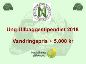 UngUllbaggestipendiet 2018 Vandringspris 5 000 kr Kriterier NBelever