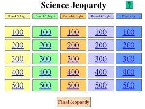 Science Jeopardy Sound Light Electricity 100 100 100