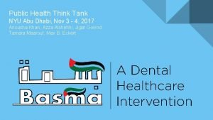 Public Health Think Tank NYU Abu Dhabi Nov