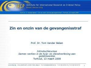 Prof Dr T Vander Beken Zin en onzin