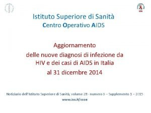 Istituto Superiore di Sanit Centro Operativo AIDS Aggiornamento
