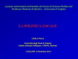 Lezione universitaria nellambito del Corso di Scienza Politica