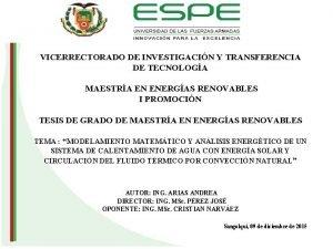 VICERRECTORADO DE INVESTIGACIN Y TRANSFERENCIA DE TECNOLOGA MAESTRA