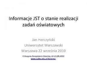Informacje JST o stanie realizacji zada owiatowych Jan