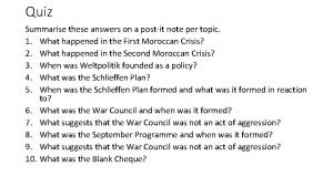 Quiz Summarise these answers on a postit note