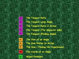 The Tangent Ratio The Tangent using Angle The