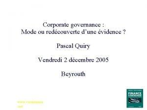 Corporate governance Mode ou redcouverte dune vidence Pascal