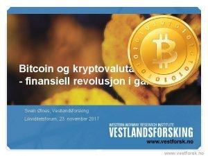 Bitcoin og kryptovaluta finansiell revolusjon i gang Svein