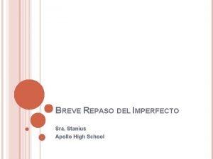 BREVE REPASO DEL IMPERFECTO Sra Stanius Apollo High