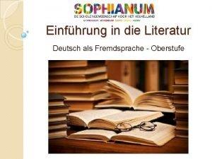 Einfhrung in die Literatur Deutsch als Fremdsprache Oberstufe