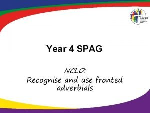 Year 4 SPAG NCLO Recognise and use fronted