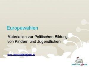 Europawahlen Materialien zur Politischen Bildung von Kindern und