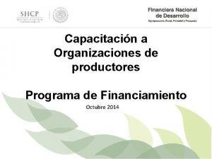 Capacitacin a Organizaciones de productores Programa de Financiamiento