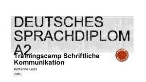 Trainingscamp Schriftliche Kommunikation Katharina Leiss 2016 4 Punkte