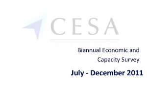 Biannual Economic and Capacity Survey July December 2011