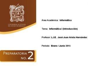 rea Acadmica Informtica Tema Informtica I Introduccin Profesor