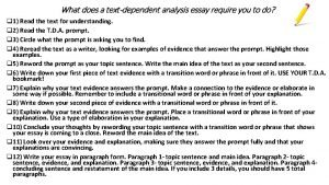 What does a textdependent analysis essay require you