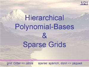 121 Hierarchical PolynomialBases Sparse Grids grid Gitter sparse