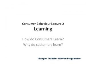 Consumer Behaviour Lecture 2 Learning How do Consumers
