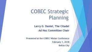 COBEC Strategic Planning Larry G Daniel The Citadel