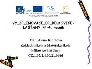 VY32INOVACE02BLKOVICELAANYP4 ronk Mgr Alena Kindlov Zkladn kola a