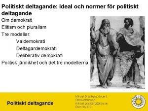 Politiskt deltagande Ideal och normer fr politiskt deltagande