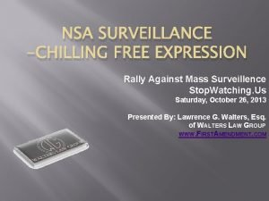 NSA SURVEILLANCE CHILLING FREE EXPRESSION Rally Against Mass
