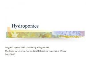 Hydroponics Original Power Point Created by Bridgett Neu