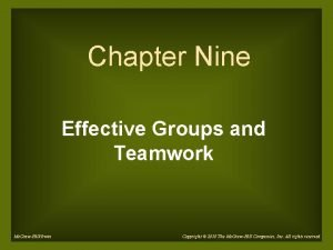 Chapter Nine Effective Groups and Teamwork Mc GrawHillIrwin