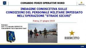 COMANDO FORZE OPERATIVE NORD INDAGINE CONOSCITIVA SULLE CONDIZIONI