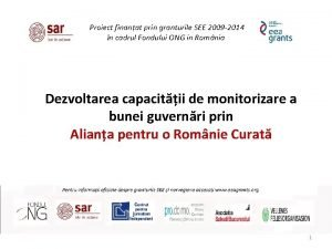Proiect finanat prin granturile SEE 2009 2014 n