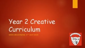 Year 2 Creative Curriculum WEEK BEGINNING 4 TH