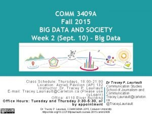 COMM 3409 A Fall 2015 BIG DATA AND