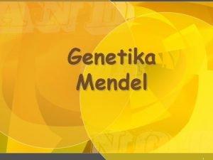 Genetika Mendel 1 Gregor Mendel 1822 1884 Menemukan