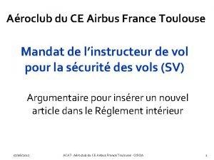 Aroclub du CE Airbus France Toulouse Mandat de