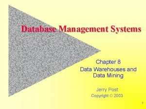 Database Management Systems Chapter 8 Data Warehouses and