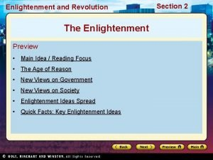 Enlightenment and Revolution The Enlightenment Preview Main Idea