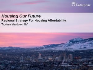 Housing Our Future Regional Strategy For Housing Affordability
