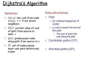 Dijkstras Algorithm Notation r cx y link cost
