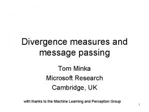 Divergence measures and message passing Tom Minka Microsoft