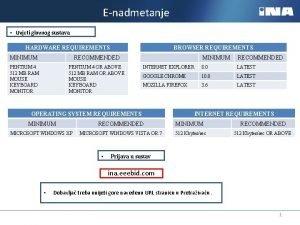 Enadmetanje Uvjeti glavnog sustava BROWSER REQUIREMENTS HARDWARE REQUIREMENTS