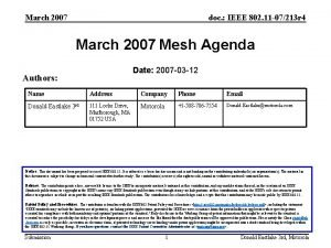 March 2007 doc IEEE 802 11 07213 r