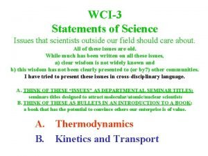 WCI3 Statements of Science Issues that scientists outside