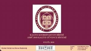 KALTE KOORDNASYON BRM ASB 2018 KALTE GVENCE SSTEM