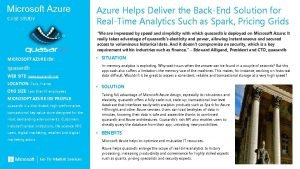 Microsoft Azure CASE STUDY Azure Helps Deliver the