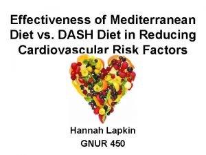 Effectiveness of Mediterranean Diet vs DASH Diet in