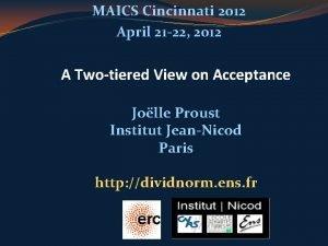 MAICS Cincinnati 2012 April 21 22 2012 A