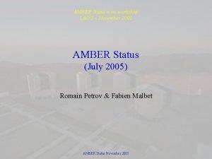 AMBER Status mini workshop LAOG November 2005 AMBER